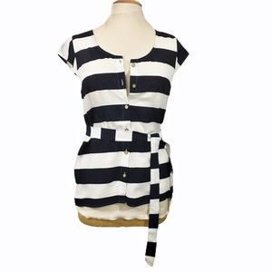 Tommy Hilfiger Striped shirt with belt Sz S